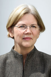 Politician Elizabeth Warren wears her hair in a short classic bob.