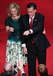 Ann wore this turquoise dress with a floral print skirt to the final presidential debate.