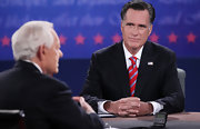 Mitt Romney added some color to his dark suit with a striped red and silver tie during his debate with President Obama.