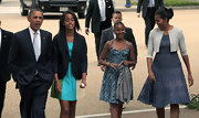 Sasha Obama attended Sunday service looking summery in a blue sundress.
