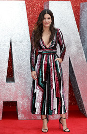 Sandra Bullock dazzled in a graphic sequined jumpsuit by Zuhair Murad at the UK premiere of 'Ocean's 8.'
