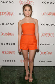 Ashley Benson looked oh-so-cure in a strapless orange romper by Tamara Mellon at the Ocean Drive Magazine anniversary.