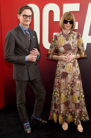 Anna Wintour looked adorable in an embroidered patchwork dress at the world premiere of 'Ocean's 8.'
