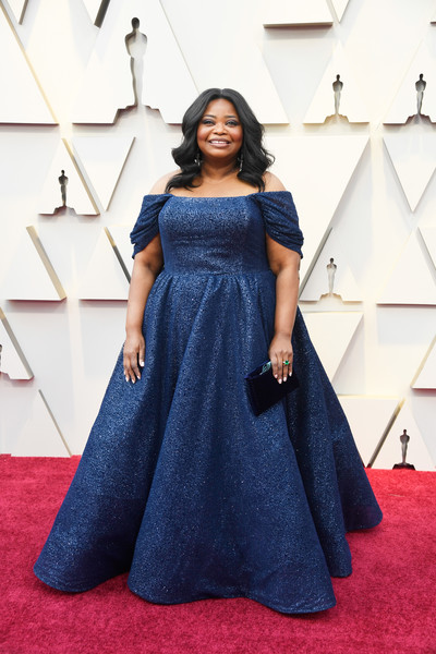 Octavia Spencer Off-the-Shoulder Dress [red carpet,clothing,carpet,dress,blue,cobalt blue,flooring,gown,fashion,shoulder,arrivals,octavia spencer,academy awards,hollywood,highland,california,annual academy awards]