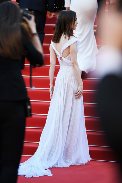 More Pics of Lily Collins Off-the-Shoulder Dress (1 of 70) - Dresses & Skirts Lookbook - StyleBistro [red carpet,white,dress,red,gown,clothing,carpet,premiere,fashion,flooring,red carpet arrivals,lily collins,okja,screening,cannes,france,cannes film festival,palais des festivals]