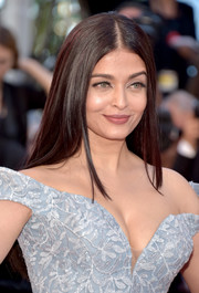 Aishwarya Rai wore her hair down in a sleek straight style at the Cannes Film Festival screening of 'Okja.'