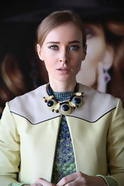 A funky over-sized beaded necklace added acted as a major statement piece of Olga Sorokina during a recent trip to LA.