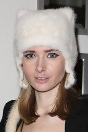 Olga Sorokina chose a feline friendly hat to beat the winter chill while at an event in LA.