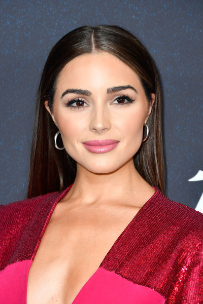 Olivia Culpo Long Straight Cut [hair,eyebrow,hairstyle,lip,beauty,chin,cheek,long hair,black hair,magenta,arrivals,olivia culpo,power of women,variety,los angeles,beverly hills,california,beverly wilshire four seasons hotel]