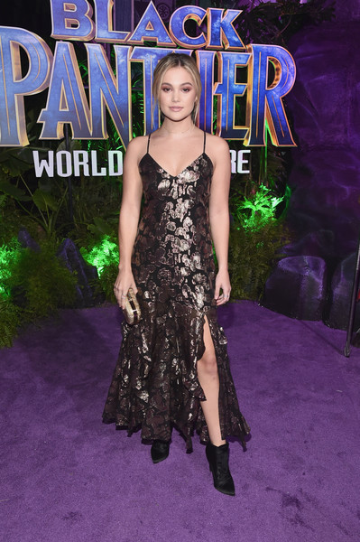 Olivia Holt Lace Up Boots [black panther,dress,clothing,carpet,red carpet,shoulder,fashion,premiere,fashion model,hairstyle,flooring,olivia holt,california,hollywood,dolby theatre,marvel studios,los angeles world premiere]