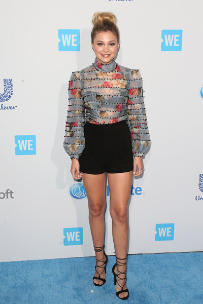 Olivia Holt Lace-Up Heels [clothing,fashion,carpet,hairstyle,shoulder,footwear,joint,shirt,leg,red carpet,we carpet,olivia holt,singer,california,inglewood,the forum,we day]