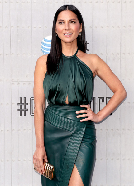 Olivia Munn Metallic Clutch
