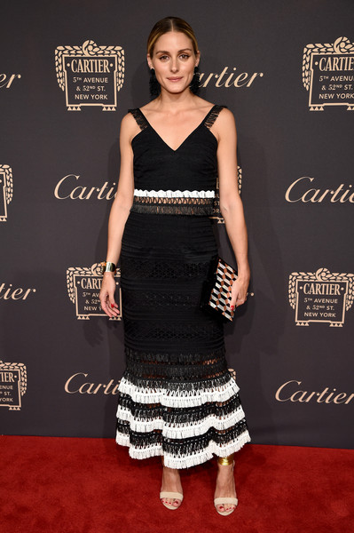Olivia Palermo Printed Clutch [flooring,fashion model,little black dress,carpet,shoulder,fashion,dress,cocktail dress,formal wear,red carpet,olivia palermo,cartier fifth avenue grand reopening event,new york city,cartier mansion]