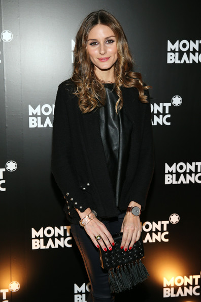 Olivia Palermo Tasselled Clutch [clothing,premiere,dress,outerwear,carpet,suit,brown hair,little black dress,long hair,event,olivia palermo,montblanc boutique,madison avenue,new york city,montblanc,madison avenue boutique opening]