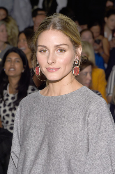 Olivia Palermo Dangling Gemstone Earrings [hair,hairstyle,shoulder,eyebrow,fashion,beauty,blond,lip,long hair,fashion model,carolina herrera,olivia palermo,front row,lincoln center,new york city,the theatre,mercedes-benz fashion week,fashion show]