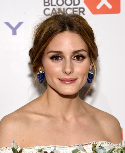 Olivia Palermo Dangling Gemstone Earrings [hair,face,hairstyle,eyebrow,chin,beauty,shoulder,lip,skin,forehead,arrivals,olivia palermo,new york city,blood cancer gala,delete blood cancer gala]