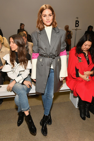 Olivia Palermo Ripped Jeans [shows,red,footwear,fashion,suit,beauty,fashion model,outerwear,formal wear,girl,flooring,taoray wang - front row,taoray wang,olivia palermo,new york city,spring studios,new york fashion week,fashion show,the shows at gallery ii]