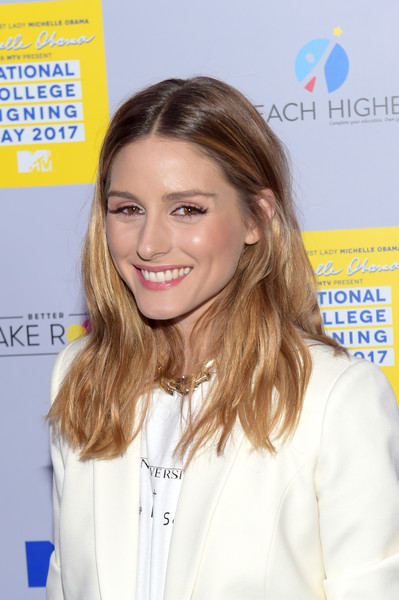 Olivia Palermo Long Center Part [hair,blond,hairstyle,beauty,skin,long hair,brown hair,smile,flooring,premiere,michelle obama,arrivals,olivia palermo,new york city,the public theater,mtv,college,college signing day]