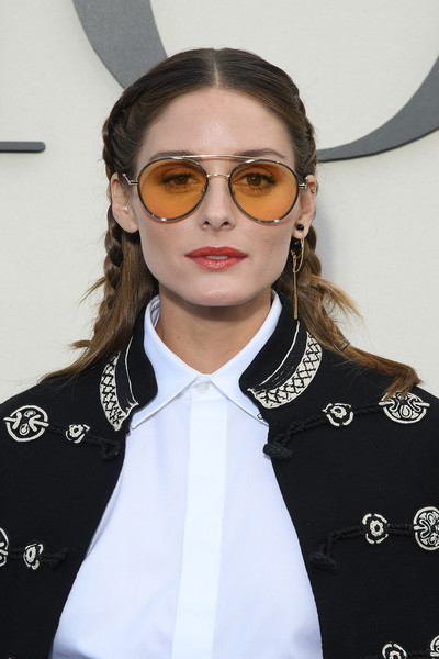 Olivia Palermo Long Partially Braided [eyewear,hair,face,glasses,fashion,sunglasses,hairstyle,vision care,lip,cool,christian dior,olivia palermo,part,paris,france,paris fashion week womenswear spring,photocall - paris fashion week womenswear spring]