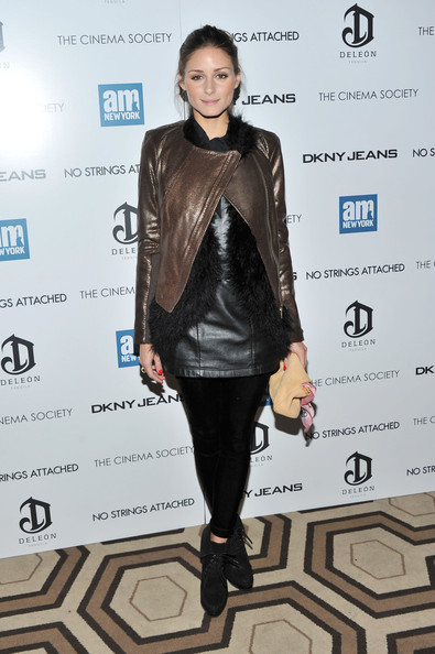 Olivia Palermo Leather Jacket [no strings attached,fashion model,jacket,fashion,catwalk,shoulder,outerwear,flooring,leather jacket,leather,top,dkny jeans,olivia palermo,deleon tequila host a screening,screening,tribeca grand hotel,new york city,cinema society with dkny jeans]