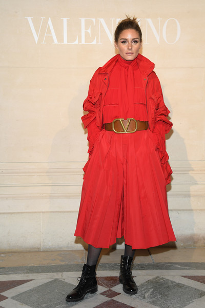 Olivia Palermo Utility Jacket [haute couture spring summer,clothing,red,outerwear,fashion,fashion design,overcoat,fashion model,coat,trench coat,costume,valentino,olivia palermo,front row,part,valentino haute couture spring summer 2019,paris,france,paris fashion week,show]