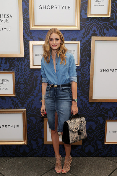 Olivia Palermo Denim Shirt [exclusive preview of the marchesa voyage for shopstyle collection,denim,clothing,jeans,blue,fashion,shorts,street fashion,footwear,textile,electric blue,olivia palermo,preview,marchesa voyage,collection,new york city,shopstyle]