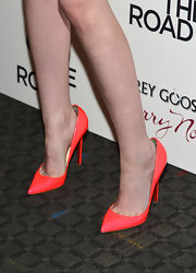 "Kristen Stewart chose a pair of neon Christian Louboutin pumps for the premiere of ""On the Road."""