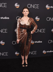 Ginnifer Goodwin paired her dress with embellished black satin sandals.