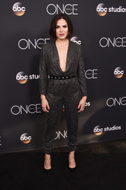 Lana Parrilla rocked a sparkling chainmail jumpsuit with a draped, plunging neckline at the 'Once Upon a Time' series finale screening.