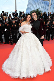 Michelle Rodriguez channeled her inner fairytale princess in a feathered off-the-shoulder ballgown by Rami Kadi Couture at the 2019 Cannes Film Festival screening of 'Once Upon a Time in Hollywood.'