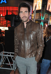 Dylan McDermott opted for a brown, snakeskin print leather jacket for the One Billion Rising event in LA.