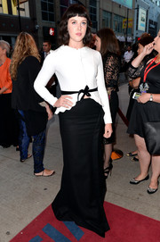 Alexandra Roach went for a vintage feel with a fitted white cutaway blouse paired with a long black skirt during the premiere of 'One Chance.'