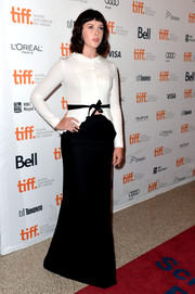 Alexandra Roach looked demure in a long black skirt and a long-sleeve white blouse during the premiere of 'One Chance.'