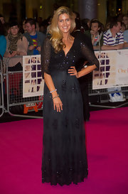 Francesca worked a beautifully bohemian aesthetic in her black beaded dress at the 'One Day' premiere in London.