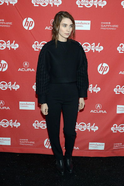 Rooney Mara went edgy in a boxy black sweater with woven sleeves at the Sundance premiere of 'The One I Love.'