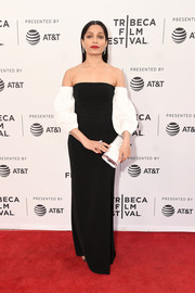 Freida Pinto cut a regal figure in a black Cinq a Sept column dress with contrast off-the-shoulder blouson sleeves at the Tribeca Film Festival premiere of 'Only.'