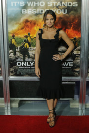 Keleigh Sperry was feminine and sophisticated in a little black dress with a ruffled hem and shoulder straps at the New York screening of 'Only the Brave.'