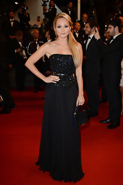 Beatrice Rosen chose an all-black column gown with a bead encrusted bodice and flowing skirt for her red carpet look at the premiere of 'Only God Forgives.'