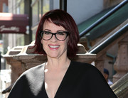 Megan Mullally wore her hair in a choppy bob with side-swept bangs at the 'It's Only a Play' photocall.