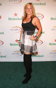 Bethanie Mattek-Sands finished off her sexy schoolgirl look with black thigh-high boots.