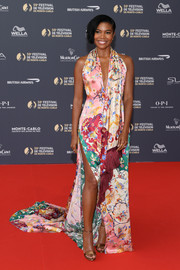 Gabrielle Union looked exuberant in a mixed-print halter gown by Oscar de la Renta at the 2019 Monte Carlo TV Festival opening ceremony.