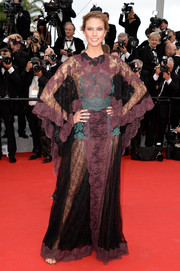 Karlie Kloss looked quite the diva in a sheer purple and teal lace gown by Valentino during the 'Grace of Monaco' premiere.