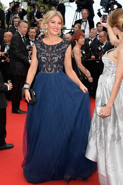 Hofit Golan went for a princess-inspired look in a blue Christophe Guillarme gown with a sheer, embroidered bodice during the 'Grace of Monaco' premiere.