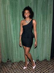 Condola Rashad showed off her svelte figure in a fitted one-shoulder LBD with a peplum waist at the Broadway opening of 'A Doll's House, Part 2.'