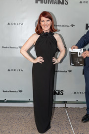 Kate Flannery looked elegant in a black halter gown with a floral neckline at the opening night of 'The Humans.'