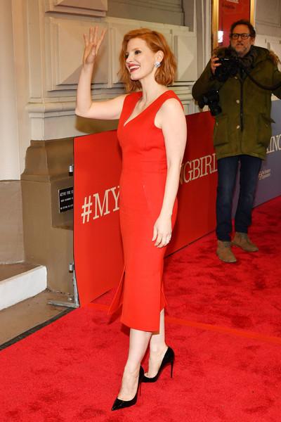 More Pics of Jessica Chastain Midi Dress (3 of 11) - Dresses & Skirts Lookbook - StyleBistro [red carpet,carpet,clothing,red,shoulder,dress,flooring,premiere,leg,joint,to kill a mocking bird,broadway,new york city,shubert theatre,jessica chastain]
