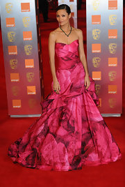 Thandie was a blooming beauty at the BAFTA Awards in a hot pink strapless ball gown.