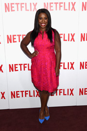 Uzo Aduba made eyes pop with this hot-pink Carmen Marc Valvo jacquard dress, contrasted with blue Manolo Blahniks, during the 'Orange is the New Black' FYC screening.