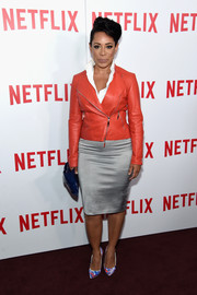 Selenis Leyva showed her edgy side with this red leather moto jacket at the 'Orange is the New Black' FYC screening.