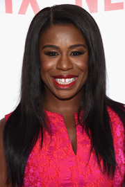 Uzo Aduba sported long, flat-ironed hair at the 'Orange is the New Black' FYC screening.